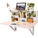 SoBuy FWT07-W Wandklapptisch mit integriertem Regal Wandschrank Küchentisch Esstisch weiß B90 x H36 x T60cm