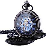 ManChDa Reloj de Bolsillo Hombre Mujer Relojes de Bolsillo con Cadena Relojes de Bolsillo mecánico Grabado Steampunk Números