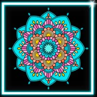 Draw Neon Glow Mandala Coloring Book