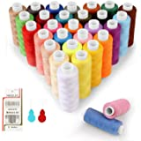Filo da Cucito 30 Colori Kit di Cucito 220m per bobine 100% Poliestere Colorato, Setoso e Resistente con 16 Aghi e 2 Infila A