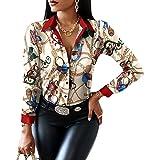 MAHUAOYIXI Camicia Donna Elegante con Scollo a V Stampa Floreale Camicetta da Ufficio Maglietta a Manica Lunga