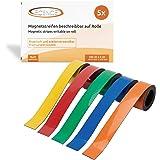 ECENCE 5x magneetband beschrijfbaar, magneetstrip herbruikbaar, markeerband voor in het huishouden, bureau, keuken, garage 10