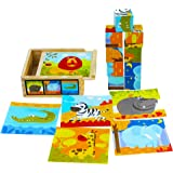 TOWO Bloques de Rompecabezas de Madera - 9 Piezas de Cubos de Animales en Caja de Madera - Puzzle Cubos para niños - Juguetes