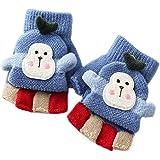 Mofeng - Guanti invernali caldi per ragazze e ragazzi, a maglia a mezze dita, 1-5 anni