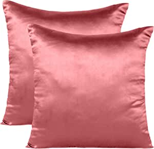 Soft and Comfortable Silky Satin Silk Pillowcase Pillow Case Cover for Hair & Skin Home Decor (Cushion Cover Sugar Coral, 12 x 12)