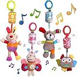 MOOKLIN ROAM 4-pack barnvagn leksaker, aktivitet hängande skallra leksaker barnvagnsleksaker, pipande sensorisk pedagogisk le