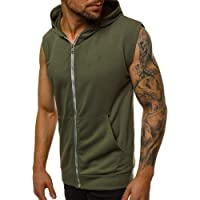 Mens Sleeveless Hoodie Zip Up Vest Tops Workout Shirts Bodybuilding Training Gym Muscle Running Tank Tops with Pockets