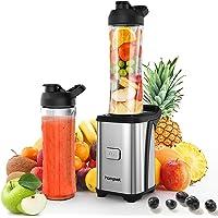 Homgeek Mini Blender 350W, Blender smoothie et Milk-shake avec 2 Bouteilles Portables de 600ml, 2 Couvercles sans BPA et…