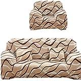 طقم كسوة كنب أنتريه ، مصنوع من الليكرا ، أربعة قطع، مكون من 1 غطاء كنبه ثلاث مقاعد و 1 غطاء كنبه مقعدين و 2 كرسي، لون موجه