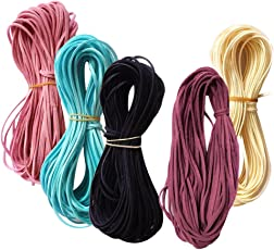 MagiDeal Set of 5PCS Flat Faux Suede Korean Velvets Cord String Jewelry DIY Making Lacing Beading Accessories 4#