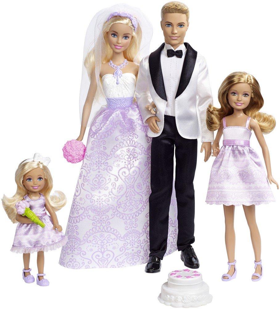 Barbie Conjunto de Boda con muñecos novios, Stacie, Chelsea y accesorios (Mattel DRJ88)