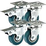 H&S 4 Castor Wheels Heavy Duty 50mm Rubber Swivel Trolley Furniture Caster with Brakes