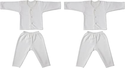 Littly Front Open Kids Thermal Top & Pyjama Set for Baby Boys & Baby Girls, Pack of 2 (White)
