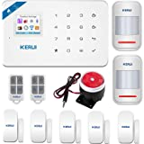 KERUI W18 Wireless 2.4G WIFI+GSM Home Burglar Alarm ,Security Alarm System DIY Kit,Remote IOS/Android APP Control,Intelligent LED Display Voice Prompt, Auto Dial External Siren ,White
