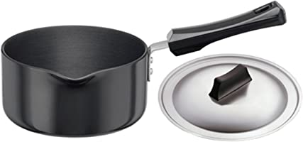 Hawkins Futura Hard Anodised Saucepan With Steel LID, 3.25mm Thick, 1 Litres, Black