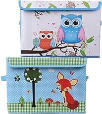 Uberlyfe KSB-996-1083 Foldable Storage And Toy Box - Fox & Owl Design- Blue