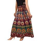 UniqueChoice Women's Cotton Mandala Print Jaipuri A-Line Wrap Around Skirt (Multicolor, Free Size)