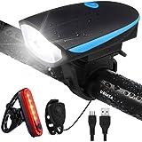UBMSA Fietsverlichting, led-set met bel, waterdicht voorlicht en achterlicht, fietsverlichting met claxon, USB-oplaadbare fie