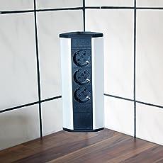 Steckdose für Küche und Büro – Ecksteckdose aus Aluminium und hochwertigem Kunststoff ideal für Arbeitsplatte, Tischsteckdose oder Unterbausteckdose mit 3-fach Steckdosenelement Küchensteckdose   3er Steckdose