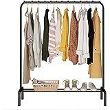 ACCSTORE Porte-Vêtements en Métal Suspension Autoportante avec étagère de Rangement,Noir