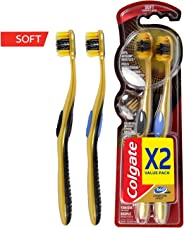 Colgate 360 Charcoal Gold Toothbrush - 2 Pieces, Multi Color