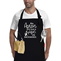 BBQ Grill Apron for Men - Apron is Just a Cape on Backwards, Funny Cooking Apron for Dad, Adjustable Black 100% Cotton…