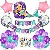Sirena Decoración de cumpleaños para niña,Morado Feliz cumpleaños Conjunto de Aluminio Globo Látex de pancartas Sirena Party,
