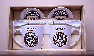 Starbucks Coffee Mug | Set of 2 with Lid and Spoon| Ceramic | 250ml (White)