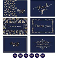 Thank You Cards Notes 30Pcs Navy and Gold Thank You Gift Cards with Envelopes and Thank You Stickers Great for Weddings, Bridal Showers, Baby Showers and Graduations