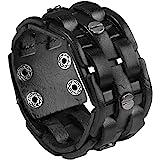 "Zysta Cool Punk Rocker Wide Cuff Wristband Bracelet Mens Gothic Biker Braided Style Genuine Leather Bangle 8.5""-9"" Adjustable"