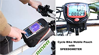 Gubbarey Combo Offer : Cycling Bike Frame Bag Tube Pouch for Smartphones/Cellphone Mobiles with 14 Function Waterproof Bicycle Digital Computer/Odometer / Speedometer
