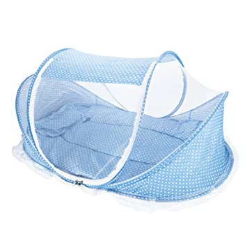 Baby Travel Bed Portable Folding Pop-up Infant Newborn Crib with Mosquito Net Beach Tent Canopy (Blue) Amazon.co.uk Baby  sc 1 st  Amazon UK & Baby Travel Bed Portable Folding Pop-up Infant Newborn Crib with ...