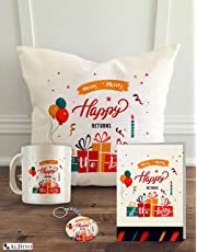 """ALDIVO® Happy Birthday   Gift for Birthday   Birthday Gifts   Combo Pack (12"""" x 12"""" Cushion Cover with Filler + Printed Coffee Mug +Greeting Card + Printed Key Ring)"""