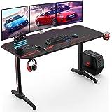 VANSPACE GD02 55'' Bureau Gaming 140 x 65 x76 cm Grand Bureau Gamer Table de Gaming PC d'ordinateur Table Desk avec Tapis de