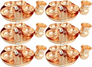 "Set of 6 - Prisha India Craft ® Traditional Dinner Set Dinnerware 100% Pure Copperware Thali Set Diameter 12"" (6 Thali, 6 Spoons,6 Fork, 6 Tumblers, 24 Serving Bowls) DIWALI GIFTS"