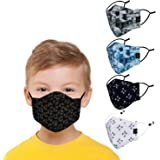 CENWELL 5 Pcs Kids Mask Reusable Washable Breathable Face Mask with Adjustable Earloops for Boys Girls Children Gift, Cute De