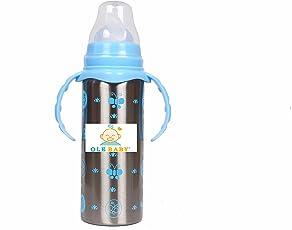 Ole Baby Kids Multifunctional 3 in 1 Stainless Steel Feeding Bottle - 240ml(Blue)