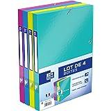 Oxford Lot de 4 Boîtes de Classement Dos 25mm en Carte Pelliculée Lavable 4 Couleurs
