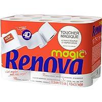 RENOVA MAGIC Papier Hygiénique 2 plis blanc, Toucher Magique, 12 rouleaux