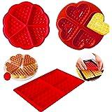 3 Piezas Moldes Waffle Silicona, DIY Corazón Mini Molde de Silicona, Silicona Hornear gofres Moldes, Repostería Decoración Mo