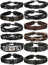 Yadoca 10-12Pcs Braided Leather Bracelet for Men Women Cuff Wrap Bracelet Adjustable Black and Brown