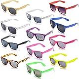 12 حزمة بالجملة ألوان نيون للجنسين 80's حزب تفضل النظارات الشمسية