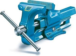 HEUER 100120 Schraubstock (120 mm)   ganz aus Stahl (unzerbrechlich) mit integriertem Amboss und Trapezgewinde, für höchste Präzision   Backenbreite: 120mm, Durchmesser: 16-55mm, 9 Kg