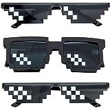 Comius Sharp 3 Pack Thug Life Occhiali da Sole, Uomo Donna Vetro 8 Bit Pixel Mosaico Occhiali Photo Props Unisex Occhiali da