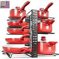 MASTERTOP Porte Casseroles Cuisine en Métal Réglable Etagère Casseroles 3 en 1 avec 8 Compartiments Organisateur Mural…