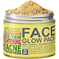 Bella Vita Organic De-Tan Removal Face Pack For Glowing Skin Oil Control, Acne Relief & Hydration With Turmeric, Sandalwood & Rose, Ayurvedic 60 g For Men & Women
