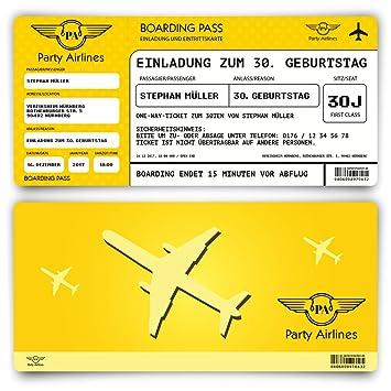 Einladungskarten Zum Geburtstag (30 Stück) Als Flugticket Ticket Karte  Einladung In Gelb