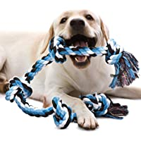 MS Petcare 6 Knots Cotton Rope Dog Chew Toy for Medium to Adult Dogs 28 Inch Long - Extra Durable (Color May Vary)