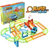 infinitoo 103 Pcs City Race Track Car Toy Set, 3D Flexible Train Tracks Toys Educational Toys, with Race Cars Traffic Signs,