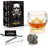 Coffret Cadeau Skull Whisky Pierre et Verre-Octagon Luxury Glass,Os de CrâNe Sculpté à la Main RéUtilisable,Granit Pur…